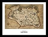 1art1 Skyrim - Map Póster De Colección Enmarcado (40 x 30cm)