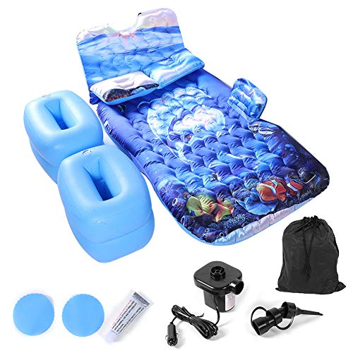 Car Inflatable Bed Portable PVC Inflatable Car Back Seat Mattress Air Mattress Car with Storage Bag,2 Pillows,Air Pump,Inflating Cushions for Home Universal Cars Outdoor Travel Camping