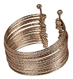 Touchstone New Indian Bollywood Fashion Multi Layered Hand Peeled Wires Rhinestone Dramatic Designer Jewelry Slip In Easy To Wear Cuff Bracelet In Silver Tone for Women.
