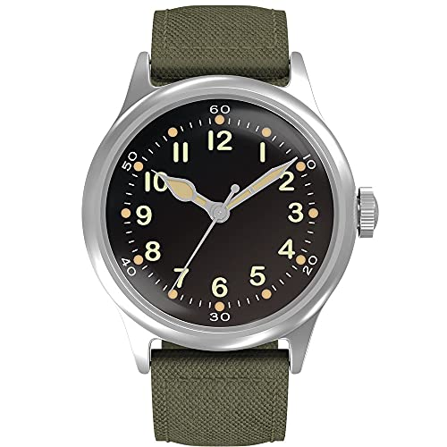 Praesidus Tom Rice's Lost Watch of D-Day - Mens Automatic Self-Winding Mechanical Wrist Watch - Type A11 Veteran Paratrooper Watch (Tom Rice A-11 (42mm), Black Dial/Green Strap)