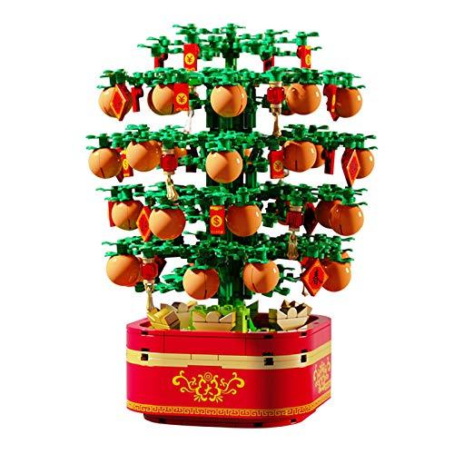 YYDE Juegos de construcción para niños, Bloques de construcción de árboles de Naranja de música Ligera, Juguetes de Regalo de Bloques de construcción, Juguetes de Regalo de año Nuevo Chino