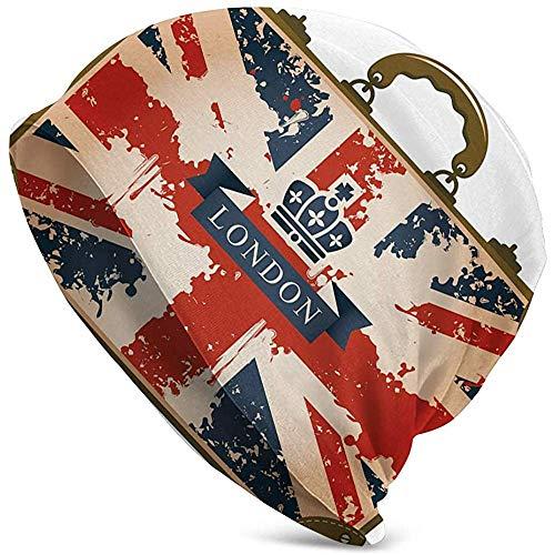 WCUTE Sombrero Unisex Gorrita Tejida Sombreros de Punto Gorra Calavera, Maleta de Viaje Vintage con Bandera británica Cinta de Londres e Imagen de la Corona