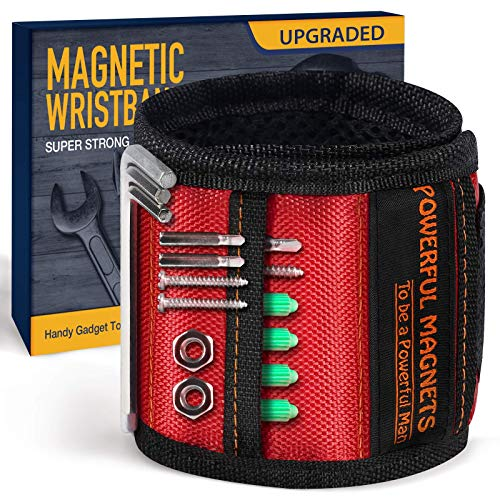 Tools For Men Magnetic Wristband, 15 Upgrade Super Strong Magnets, Best Dad Gift, Unique Gifts For Men, Magnetic Gadget for Man Gifts, Wrist Tool Holder for Holding Screws, Nails, Drill Bits.