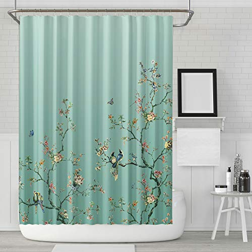 LIVETTY Fabric Floral Shower Curtain Set Green Ombre Watercolor Decorative Bath Curtain Modern Bathroom, Machine Washable, Climbing Flowers Bird and Leaves, 72