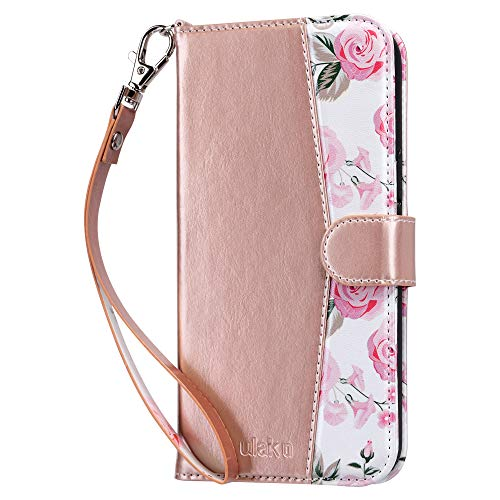 ULAK Compatible with iPhone 12 Pro Max Wallet Case for Women with Credit Card Holders, Designed Flip PU Leather Kickstand Shockproof Protective Phone Cover for iPhone 12 Pro Max 6.7 inch, Rose Gold