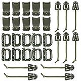 BOOSTEADY Kit mit 30 Aufsätzen für Molle Beutel Taktische Rucksack Weste Gürtel,D-Ring Grimloc Locking,Web Dominator Elastische Schnüre,Riemen Management Tool Schnalle