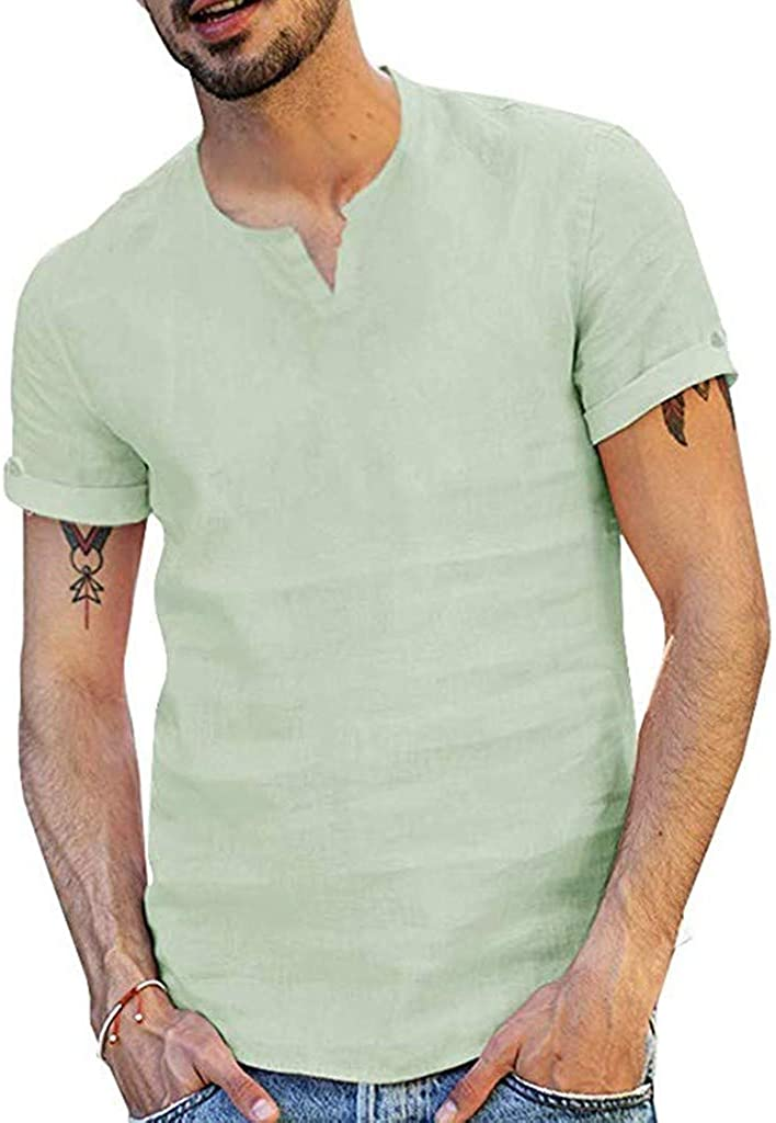 MODOQO Casual Beach Henley Shirt Fishing Tees for Men New Pure Cotton Hemp Comfortable Tops(Green,CN-2XL/US-L)