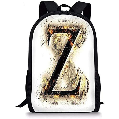Hui-Shop Mochilas Escolares Letra Z, Alfabeto Carácter Z mayúscula en g-othic Medieval ardiente Rodeado de Fuego Tan Negro Naranja para niños Niñas