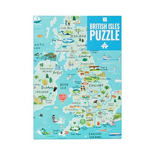Talking Tables PUZZ-MAP-UK 1000-teilige Blue UK Karte British Isles Puzzle & Poster | Illustriert | Großbritannien Sehenswürdigkeiten Reisen | Regentag, Aktivitäten zu Hause, Geburtstagsgeschenk