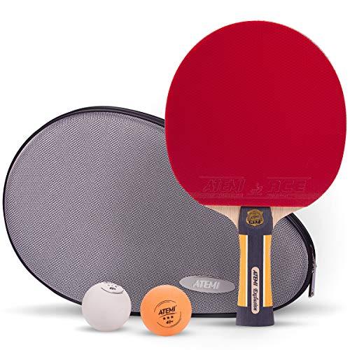 Atemi Exklusive Set | Tischtennis-Set | Beinhaltet 1 Profi-Schläger, 2 Bälle 40+ und 1 Schutzhülle | Neu 2020 Gummi | Stilvoll, leicht und praktisch | Für alle Spielstärken geeignet