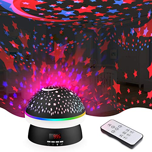 Night Light for Kids, Star Projector Kids Star Night Light Projection Lamp with 360 Degree Remote Control and Timer, Star Light Projector for Bedroom, 8 Colorful Lights (Black)