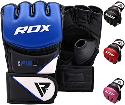 RDX MMA Gloves for Grappling Martial Arts Training | D. Cut Palm Maya Hide Leather Sparring Mitts| Perfect for Cage Fighting, Combat Sports, Punching Bag, Muay Thai & Kickboxing
