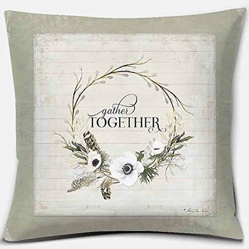 JBDGNZ Funda de Almohada Cuadrada con Estampado de Flores Blancas Bohemias, decoración del hogar, Funda de cojín para sofá de Coche, Estilo, 03,45cmX45cm