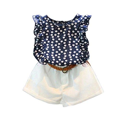 Ensembles de Bébé Filles - Mignon T-Shirt Bow Chemise de modèle de Fille Tops+ Shorts Ensemble Vêtements pour Enfant Fille 2-7 Ans Ba Zha Hei (130/6-7Ans, Marine)