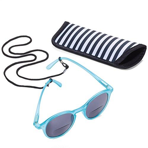 TROIKA SUN READER 2 - SUR15/TQ- Lesesonnenbrille mit Etui - bifokal - Stärke +1,50 dpt - Lesebrille + Sonnenbrille - Polykarbonat/Acryl/Mikrofaser - türkis - das Original