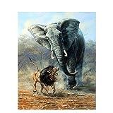 ksyklys DIY Pintura Al Óleo Digital Batalla de Leones y Elefantes Digital Pintura Al Óleo Regalo para Adultos Niños Pintura por Numero Kits Decoración del Hogar 40 * 50