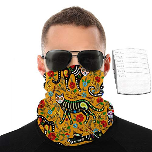 Calavera Sugar Skull Black Cats Bandana Cloth Face Mask Washable Face Covering Neck Gaiter Dust Mask