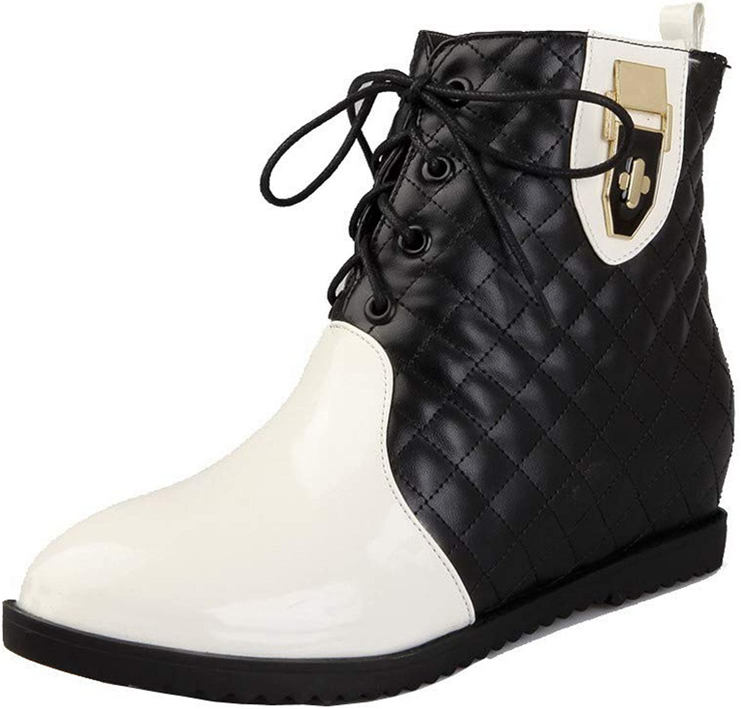 WeenFashion Women's Low-Top Lace-Up Blend Materials Low-Heels Round-Toe Boots, AMGXX126700