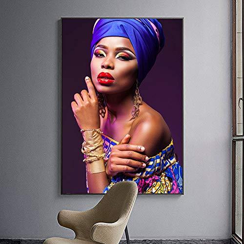 wZUN Impresión de Lienzo de Chica Negra Arte Africano para Mujer Mural para Sala de Estar póster artístico de Pared y decoración Mural de Grabado 60x90 Sin Marco