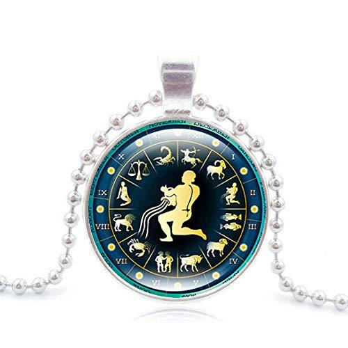 GYXYZB 12 sterrenbeeld tijd edelsteen hanger ketting twaalf dierenriem sieraden zilveren kraal ketting