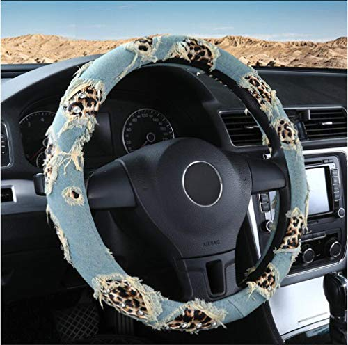 Carmen Leopard Printed Denim Steering Wheel Cover Leather Universal 15 Inch Cute Car Wrap Cover Best Gift for Women Girls Ladies (Lake Blue)