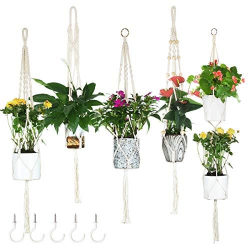 JES&MEDIS Macrame Plant Hangers Set of 5 Indoor Wall Hanging Planter Basket Decorative Flower Pot Holder with 5 Hooks
