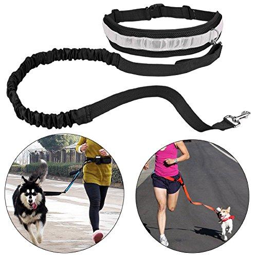 Souple pour animaux chiens en Laisse jogging Elastique libres Ceinture sangle de traction corde avec porte-bouteille d'eau chien Treats Bag, noir