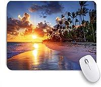ECOMAOMI 可愛いマウスパッド ヤシの木の砂浜の日の出 滑り止めゴムバッキングマウスパッドノートブックコンピュータマウスマット