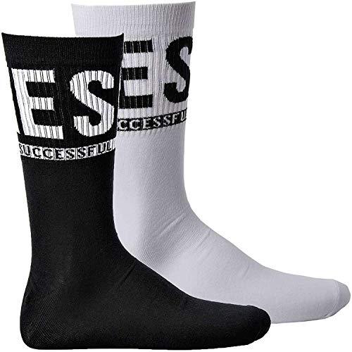 Diesel Socken Unisex, 2 PAAR, SKM-RAY, Rippbündchen, Uni (1x Schwarz, 1x Weiß) (Schwarz/Weiß, Medium (Gr. 39-42))