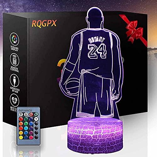 Lámpara de ilusión 3D Dragón Anime Gaming Dog Kobe Baloncesto Amantes B Luz de escritorio, 8 16 6 años de edad, regalos de niña de 9 años, regalo de niño edad 12 11 10 5, figuras de animales luz 3D