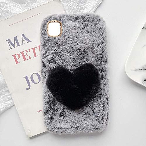 YHY Linda Funda Teléfono con Forma Corazón Felpa para Samsung Galaxy F12 Funda Teléfono Romántica Creativa Moda Gris Oscuro