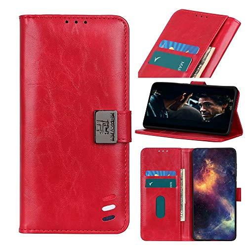 Funda para Samsung Galaxy A21S, Samsung Galaxy A21S, funda tipo cartera, piel sintética, con cierre magnético, a prueba de golpes, para Samsung Galaxy A21S, color rojo