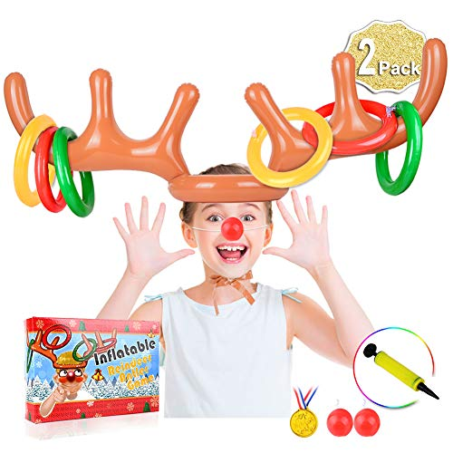 AniSqui Inflatable Reindeer Antler Game, 2 Inflatable Antler, 12 Rings Inflatable Reindeer Ring Toss Christmas Party Games, Christmas Family Games