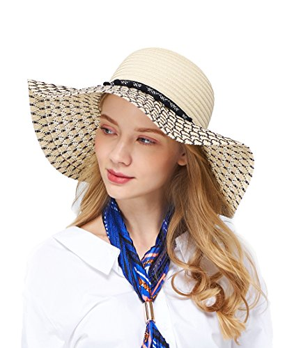 EUPHIE YING Women's Wide Brim Sun Hats UPF 50+ Summer Floppy Straw...