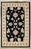 etnico Alfombra Ziegler Chobi de doble nudo de 2'8 x 4'2 hecha con tintes vegetales – 81 cm x 127 cm negro diseño simétrico alfombra