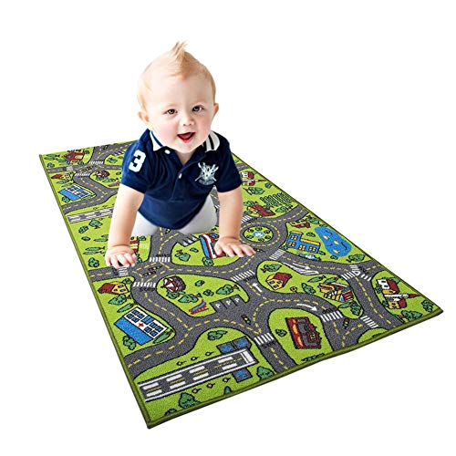 Review Of Oiker Roads Traffic Kids Play Mat, 150 x 80cm Large City Roads Area Rug for Baby Infant Pl...