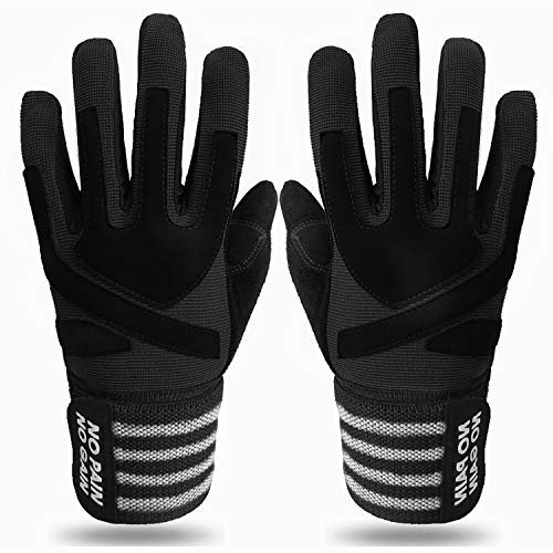 Crossfit Gloves for Men Women Full Finger with Wrist Strap Support, Padded Grip for Weight Lifting Gym Fitness Exercise Training Male Female (Black, Large)