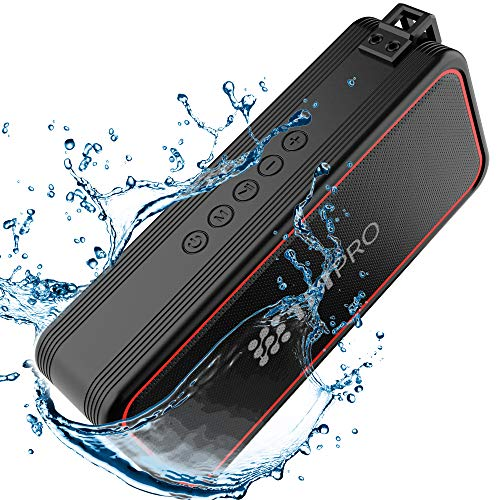 TBI Pro Powerful 20W Bluetooth Speaker - Model 2020 - IPX7 Waterproof - 24 Hours Battery - Portable Indoor/Outdoor Deep Bass Wireless Speakers with Mic - Loud True Stereo Sound - Shower, Travel, Party