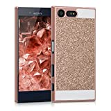 kwmobile Sony Xperia X Compact Hülle - Handyhülle für Sony Xperia X Compact - Handy Case Cover Schutzhülle - Glitzer Rechteck Design Rosegold Weiß