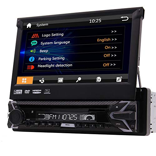 Singolo Stereo 1 DIN lettore DVD CD 7 pollici touchscreen capacitivo staccabile GPS 1Din navigazione Bluetooth Autoradio in precipitare capo unità FM AM RDS Video 1080p USB SD con 8GB Mappa & Remote