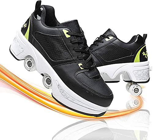 MQJ Patines para Mujer Zapatos de Rodillos Al Aire Libre 4 Ruedas Patines para Niños 2 en 1 Polea Invisible Patines para Poleos Adultos Zapatos Automáticos para Niños,Negro + Verde,37Eu / 7.5Us