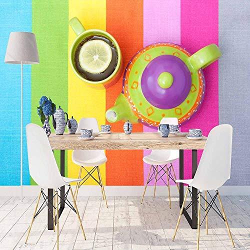Blauw Groen Roze Geel Oranje Lijn Beker van Thee 3D Print Foto Reinigbare Stof Mural Home Decor Keuken Achtergrond Behang 30 x 300 cm.