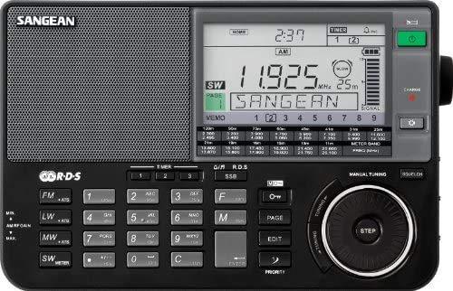 Sangean ATS-909X BK AM/FM/LW/SW World Band Receiver - Black & ANT-60 Short Wave Antenna