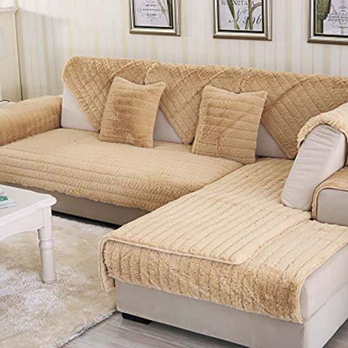 QSCV Universal Fundas para Sofa para Salon,Suave Anti-resbalón Forma L La Funda para Sofa para Niños Perros Mascotas,Terciopelo Felpa Protector De Muebles-Camello 90x70cm(35x28inch) 1pcs