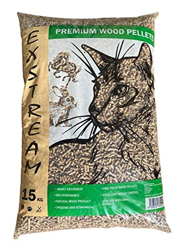 Exstream Wood Based Cat Litter 30 litre bag, Ultra Absorbent Pine, Suitable for Small Animal