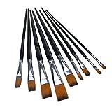 Marrywindix 9pcs Flat Pointed Tip Nylon Hair Acrylic Watercolor Brush Artists Paint Brush Set Black