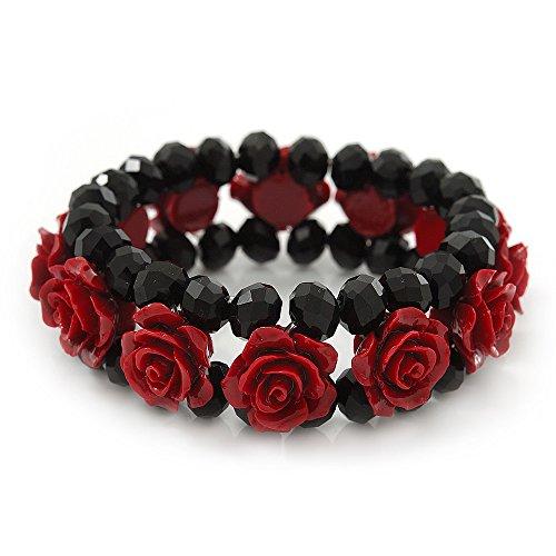 Romántico y rojo oscuro de rosas de resina, color negro - pulsera de