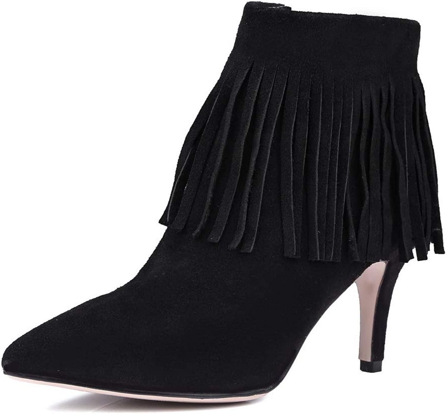AN Womens Spikes Stilettos Pointed-Toe Tassels Imitated Suede Boots DKU02157