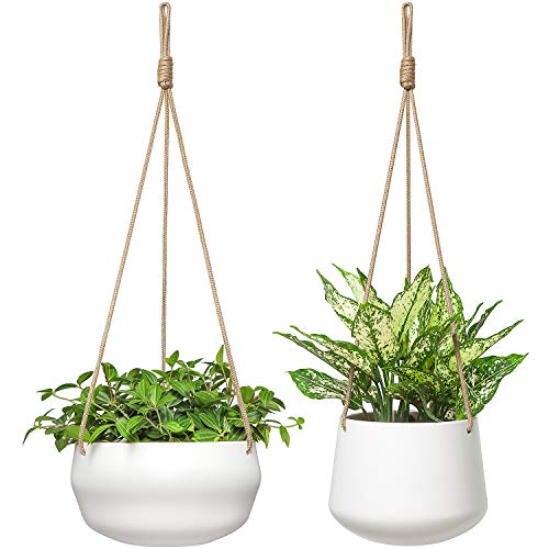 Mkono Ceramic Shallow Geometric Porcelain Polyester Hanging Planter