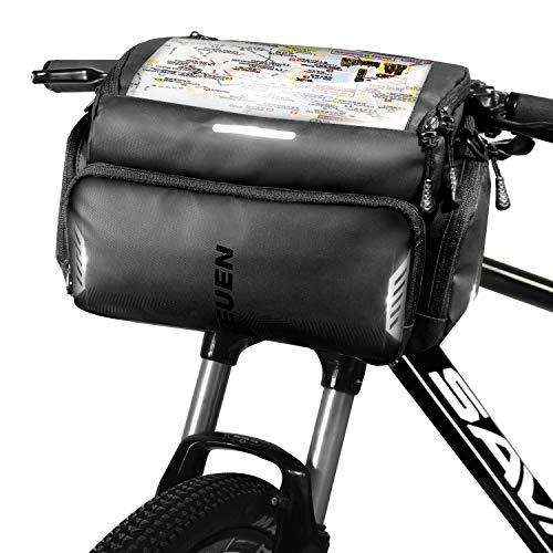 TEUEN Borsa Manubrio Bici MTB Impermeabile Borsa Bicicletta Anteriore con Touchscreen per Telefono/Navigatore, Borsa da Manubrio Mountain Bike con Parapioggia, 4L Grande Capacita Multitasche (Nero)